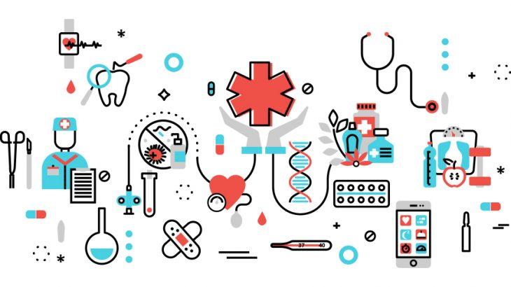 医療品とブロックチェーンイメージ画像