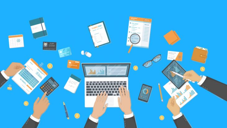 企業会計とブロックチェーン技術のイメージ画像